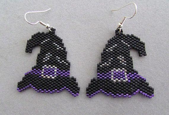 Witch's Hat Halloween Earrings in delica by DsBeadedCrochetedEtc, $24.00