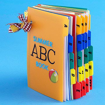 Capture your child's summer memories in this easy-to-make index-card book. Your child can choose people, places, and activities to add under each letter of the alphabet.                 Make It: Help your child plan fun ideas for each letter; cut out corresponding pictures from magazines or take your own photos. Mat images with patterned paper and adhere to index cards.                 To display a letter on each page, write the letter on a white circle and mat with patterned paper…