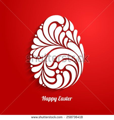 Easter background with abstract ornate egg 3D white and red paper cut pattern Happy Easter, Easter Template Design, Greeting Card