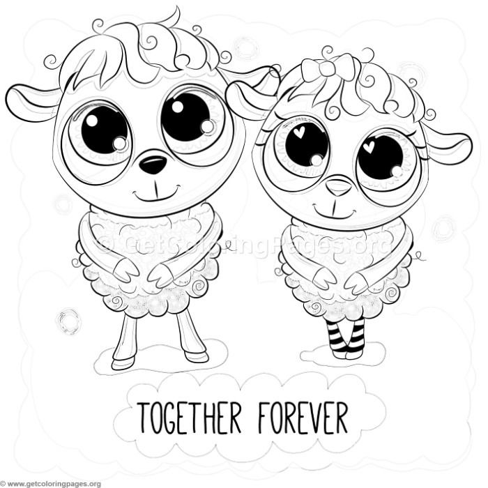 Free To Download Cute Together Forever Sheep Coloring Pages Coloring Coloringbook Coloringpages Animals Cute Coloring Pages Coloring Pages Coloring Books
