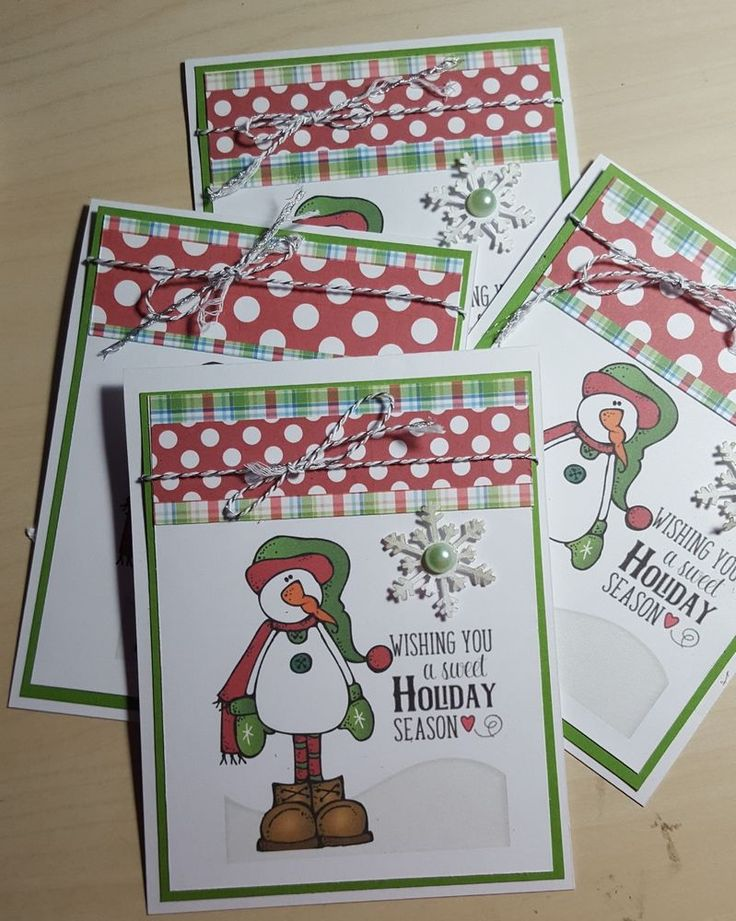 free ecard christmas party invitations%0A Set of   Country Snowmen Merry Christmas Handmade Greeting Cards