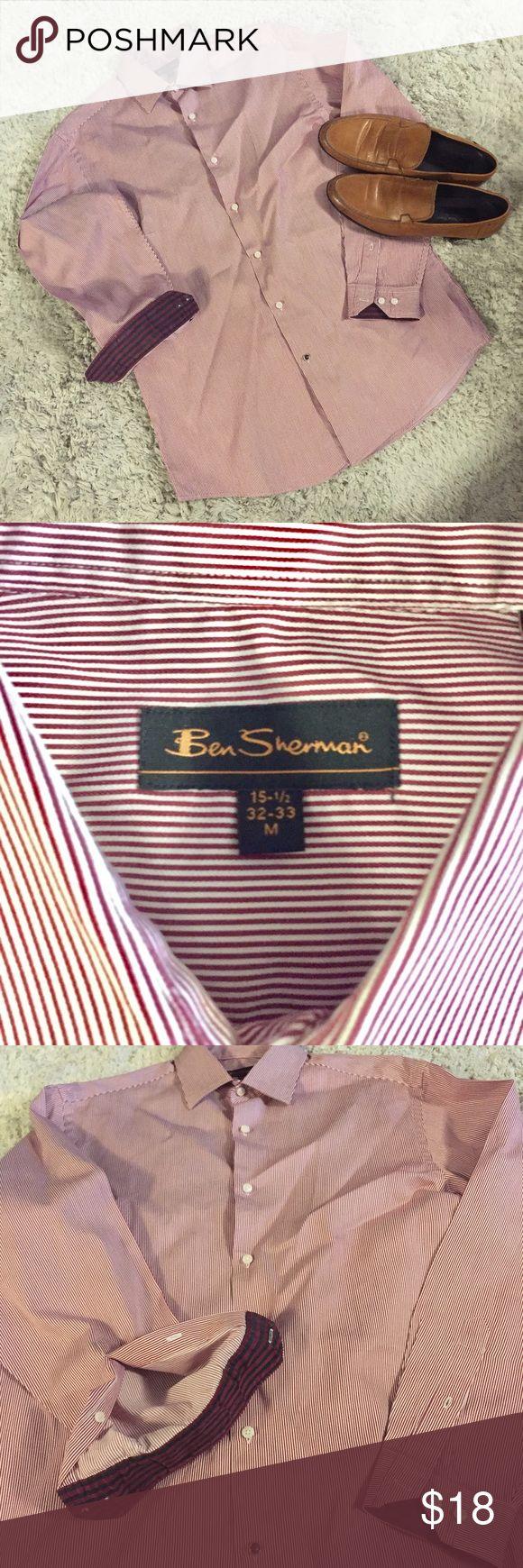 BEN SHERMAN - button down dress shirt Vertical red and salmon stripes. Ben Sherman Shirts Dress Shirts