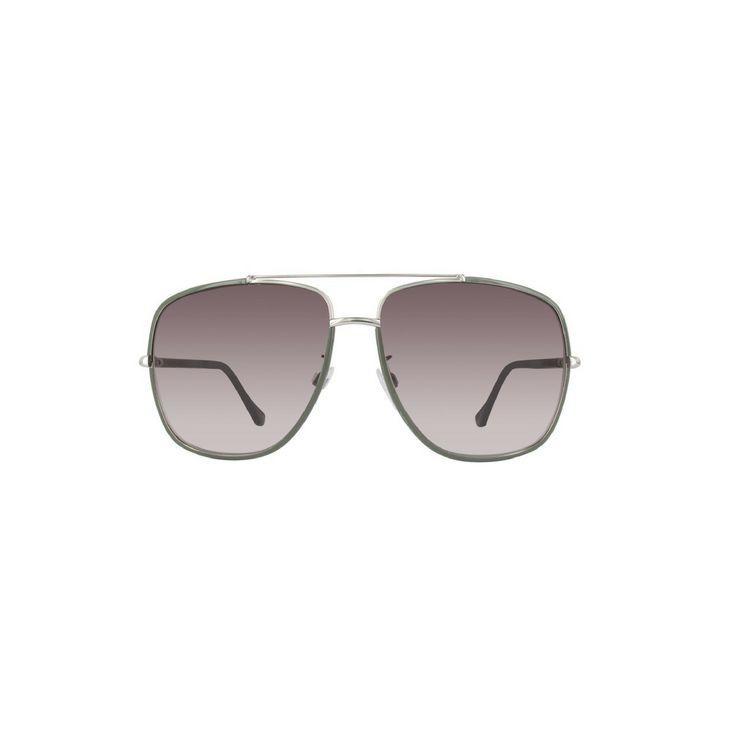 Balenciaga BA0061 Women's Aviator Sunglasses, Dark Green