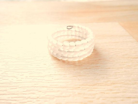 Matte White Seed Bead Ring  Memory Wire Ring  by SkadiJewelry