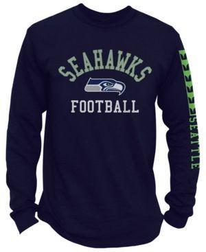 Authentic Nfl Apparel Men's Seattle Seahawks Spread Formation Long Sleeve T-Shirt - Blue XXL