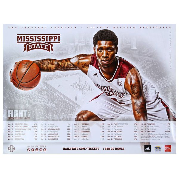 No. 1 Mississippi State Bulldogs 2014 Basketball Schedule Poster - $.99