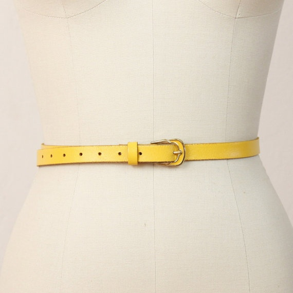 Skinny Vintage Bright Yellow Belt by salvagelife on Etsy, $30.00