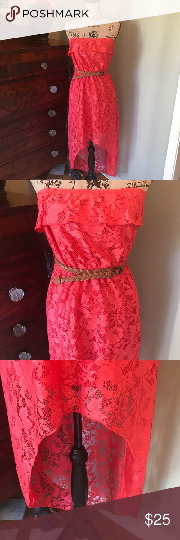 💖 Trixxi High Low Coral Lace Dress w Belt. S Shorter in the front than the back. Lined but liner only comes midway. Braided brown belt. Top Ruffle. Excellent condition. Strapless Trixxi Dresses