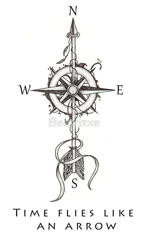 """Diseño inspirado en un diseño del tatuaje. Se basa en la frase """"El tiempo vuela como una flecha"""" o """"Carpe Diem"""". En este diseño de una brújula (rosa de los vientos) se muestra con los puntos cardinales (norte, sur, este y oeste), una flecha con plumas y una sombra alrededor de la brújula. Diseño Inspirado En un diseño de tatuaje. ESTA BASADO En La frase """"El tiempo vuela Como una flecha"""" o """"Carpe Diem"""". En Este diseño Aparece Una brújula (rosa de los vie..."""