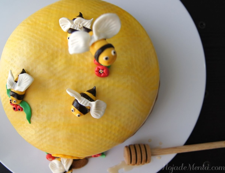 Tarta de fondant Colmena de abejas