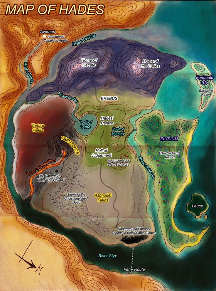 Map of Hades Greek Mythology Map