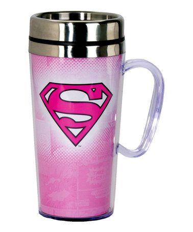Love this Pink Supergirl 15-Oz. Insulated Travel Mug on #zulily! #zulilyfinds