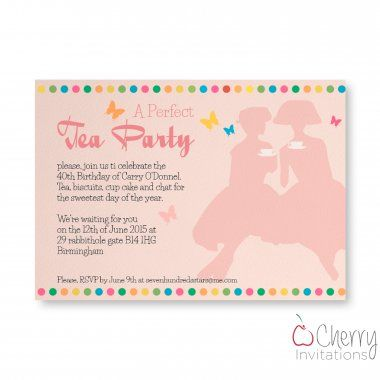 Pink Classy Tea Party Themed Single Sided Personalised Birthday Invitations - From as little as £0.41 per card - Including free envelopes and delivery on all orders!