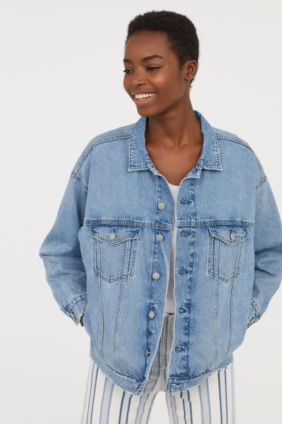 429ffbf653fd Oversized Denim Jacket - Light denim blue - Ladies