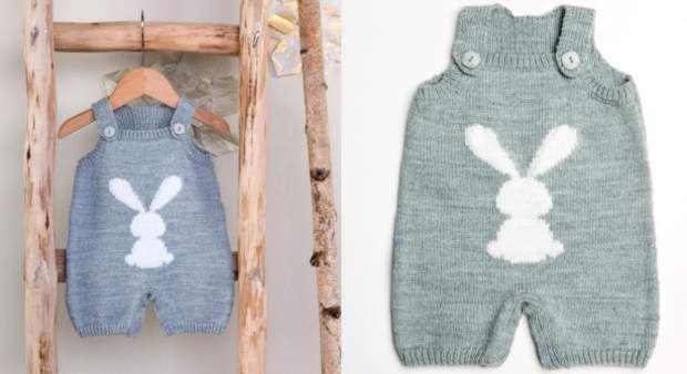 La combinaison layette jacquard lapinC'est le vêtement indispensable de bébé. Cette salopette tricotée en jerseyest décorée d'une silhouette de lapin en jacquard. L'idée pratique : des boutons pressions à l'entrejambe.
