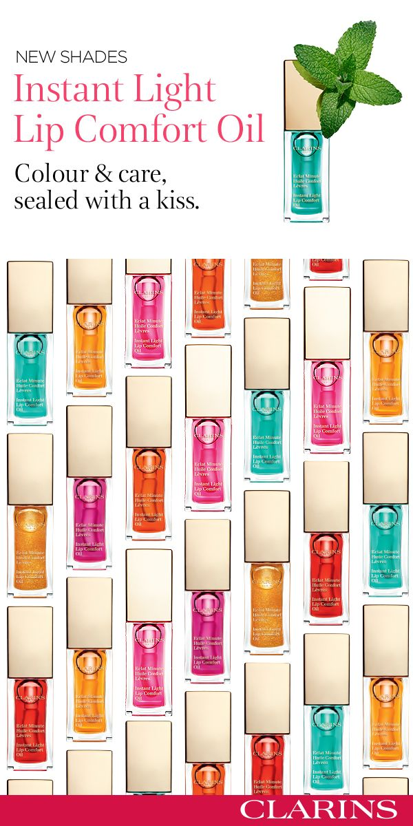 """""""Colour and care, sealed with a kiss. Our lip oils are back, now in 7 luscious shades.  Discover all of Clarins' oil expertise in our Instant Light Lip Comfort Oils. Their unique formula is a perfect balance between lip care and lip gloss, with a non-sticky texture, providing total comfort and nourishment. #SealedWithAKiss"""""""
