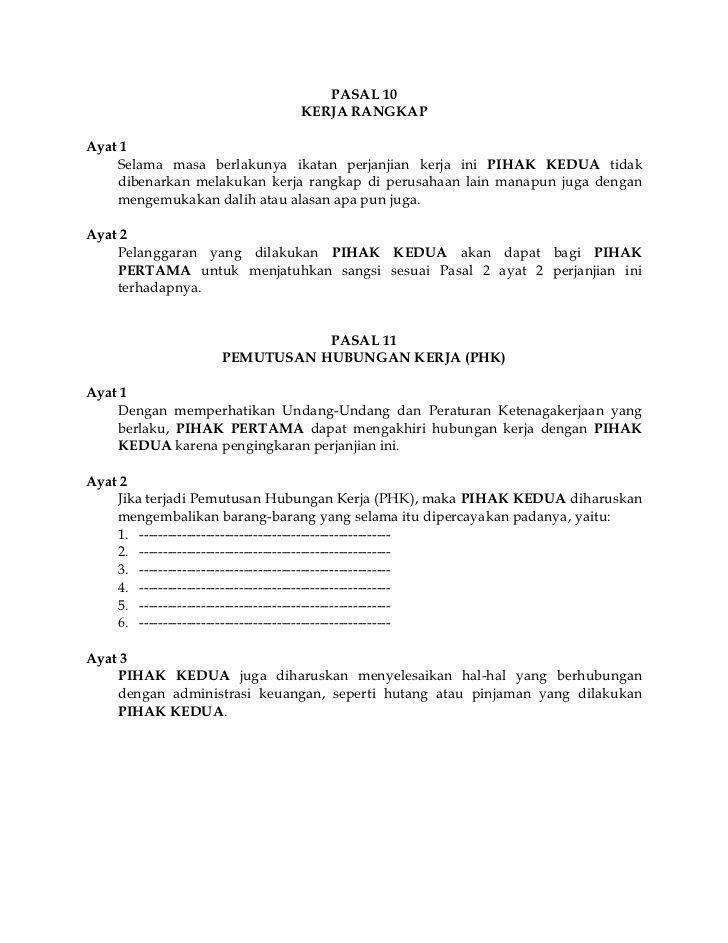 Contoh Surat Perjanjian Kerja Kontrak Personalized Items