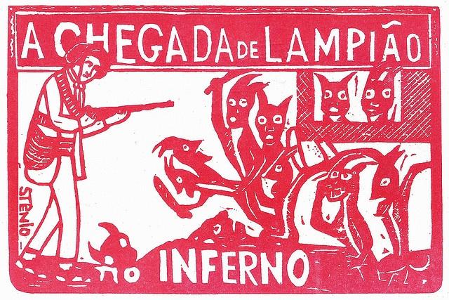 """Xilogravura Popular    Xilogravura de Stênio retirada de capa de folheto de Cordel: 'A chegada de Lampião no Inferno'. (Coleção do autor).    O Romanceiro popular com seu """"espírito mágico"""" é o maior referencial utilizado pelos artistas que participam do Movimento Armorial."""