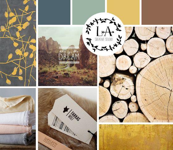Manier van collages in de documentatiemap zetten. Met kleurenpallet, materialen en meubels.