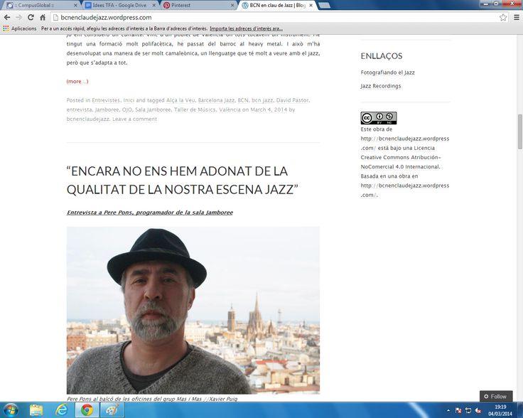 Hem aplicat els coneixements sobre llicencies de Creative Commons al blog http://bcnenclaudejazz.wordpress.com/. El tipus de llicència escollida és una  Licencia Creative Commons Atribución-NoComercial 4.0 Internacional .