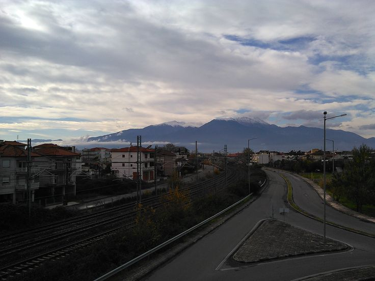#MountOlympus #MontOlympe, view from bridge, near Katerini railway station, Pieria, Northern #Greece, Nov. 26, 2015, morning