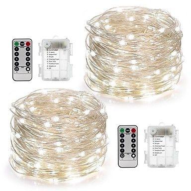 2pack fe strenger lys batteridrevet vanntett 8 moduser 100led 10m kobbertråd firefly lys fjernkontroll