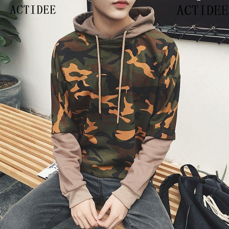 2017 New Men False-Two-Pieces Camouflage Hoodies Fashion Coats Men Fashion Casual Sweatshirts Hoodies Plus Size 3XL 4XL 5z