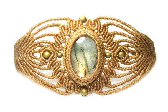 Bracelet macramé avec Labradorite et bronze, Beige, bijoux macramé, Macrame bracelet, Bracelet macramé, Hippie, femelle, mode, unique