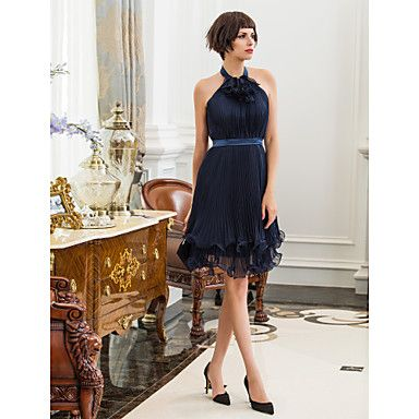 TS+Couture®+Cocktail+Party+/+Holiday+Dress+-+Dark+Navy+Plus+Sizes+/+Petite+Sheath/Column+High+Neck+Knee-length+Chiffon+/+Stretch+Satin+–+AUD+$+114.39