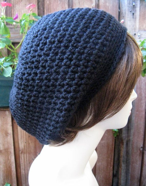 BLACK   Hand Croche  Beanie Slouchy by WoolFashion on Etsy, $20.00