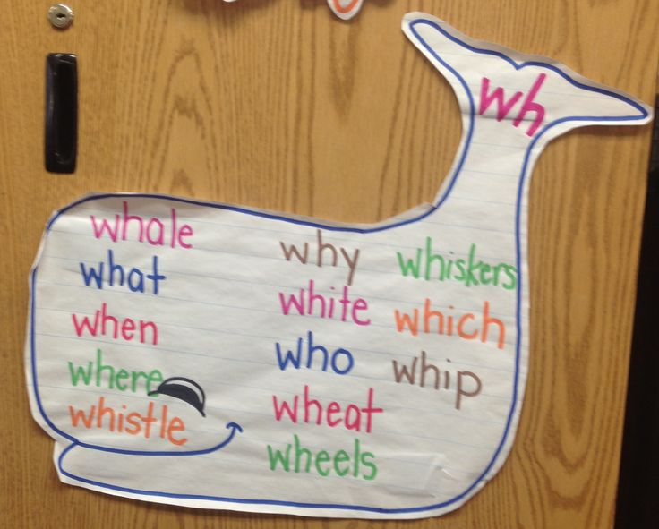 Consonant digraph, wh words anchor chart