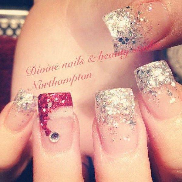 Sparkly Tips and Santa Hat Nails.