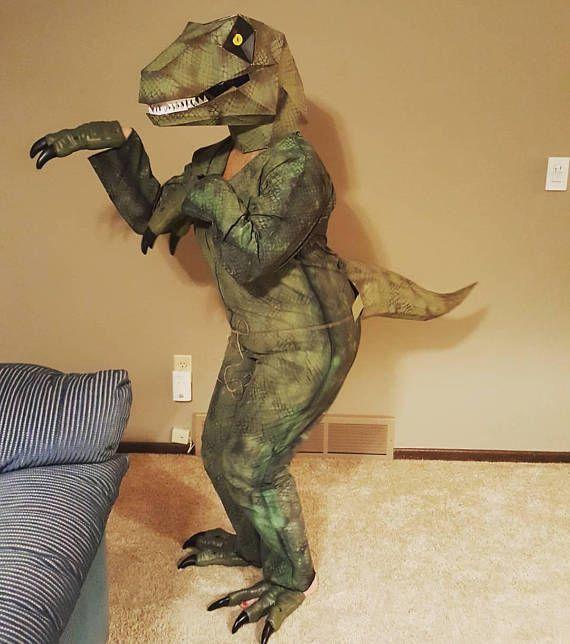 Blue Velociraptor Kids Fancy Dress Jurassic Dinosaur Boys Girl Halloween Costume
