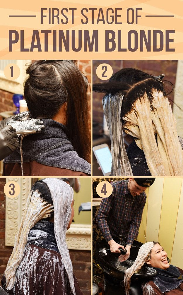 Once you decide to go platinum, here's what happens first. Bleach is applied to the hair with a brush for what's called the first process of color. | One Woman's Journey From Jet Black To Platinum Blonde Hair