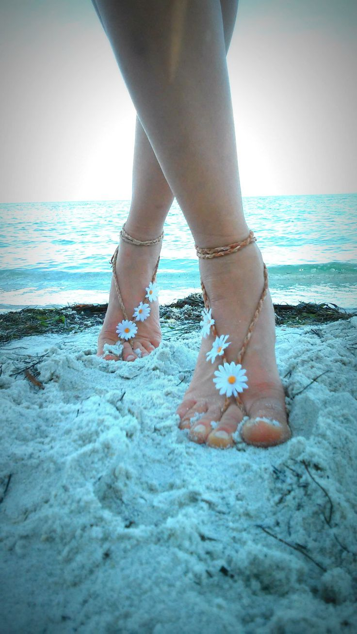 New to dieselboutique on Etsy: Barefoot sandals. festival boho sandals barefoot sandles crochet barefoot sandals anklet hippie daisy flower beach wedding (29.99 USD)
