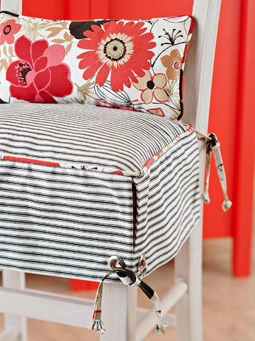 Comfy Seating  ..        Freshen up an unfinished stool with white paint. To add comfort for the cook, finish with a skirted seat cushion and lumbar pillow.