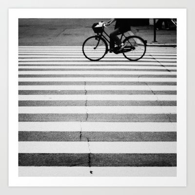 BIKE Art Print by TOM MARGOL - $25.00 Paris? I can almost smell the croissant.
