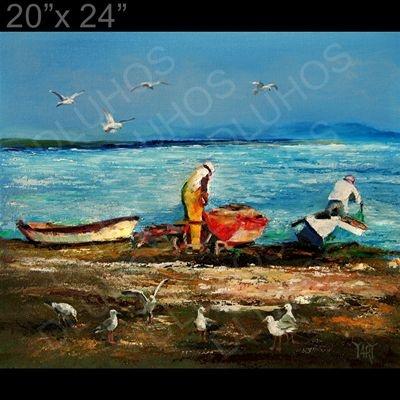 Ebay Oil Paintings Seaside Boats