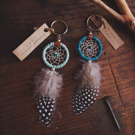 DK-01, FREE U.S shipping, Dreamcatcher keyring with guinea feather, recycled yarn,upcycled,native american, color option,hippie,boho