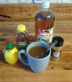 JessCapades: Miracle Sore Throat Cure. Cup of hot tea, 2 tbsp lemon juice, 2 tbsp honey, 1 tbsp apple cider vinegar, dash of cinnamon, sugar to taste.