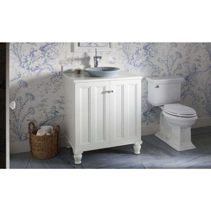 Website Picture Gallery Whimsical blue and white powder room featuring Kohler Poplin vanity