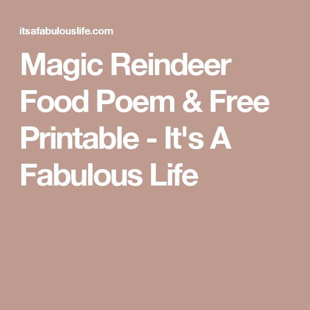 Magic Reindeer Food Poem & Free Printable - It's A Fabulous Life