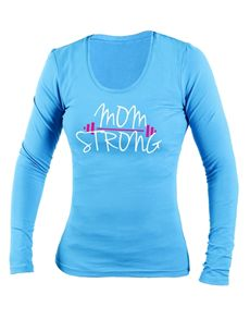 activewear: Personalised Blue Mom Strong Longsleeve T-Shirt!