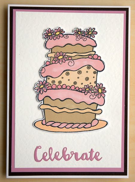 Woodware Huge cake and Candles.  I coloured with Pro Markers and finished with Wink of Stella.