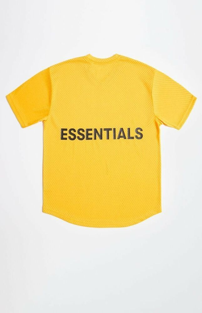 8865dbbf1 NWT Fear of God Essentials Mesh Boxy T-Shirt YELLOW XS FOG Extra Small |  eBay