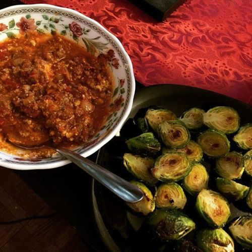 Random dinner - roasted Brussels sprouts and beef bolognese with Parmesan cheese. Im clearly not one of those people that has perfectly styled beautifully cooked and plated food and I dont think I ever will be \_(ツ)_/ but this is what I eat and this is what it looks like  some days Im like why am I taking pictures of my ugly-ass food?! And today is one of those days. I dunno I hope its of value to someone! And if not meh  . . . #keto #ketofam #ketodiet #ketosis #ketogenic #ketogeniclifestyle…