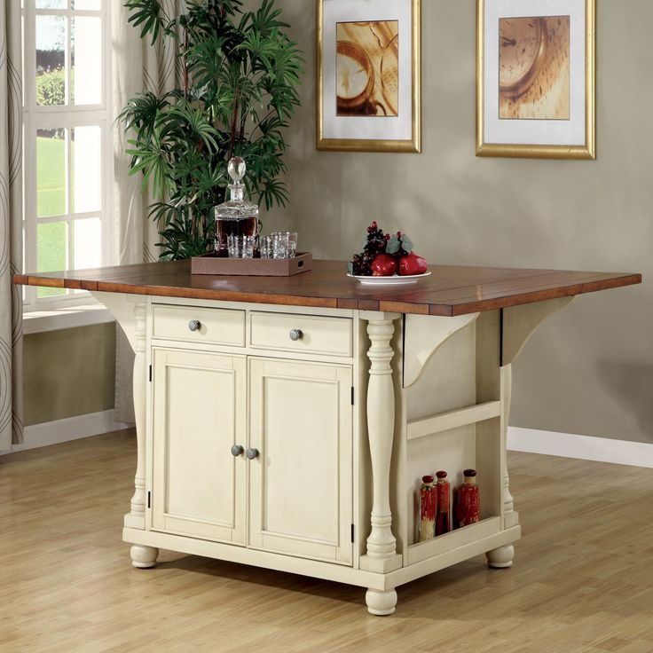 Coaster Furniture 102271 Two Tone Island Kitchen Table with Leaves