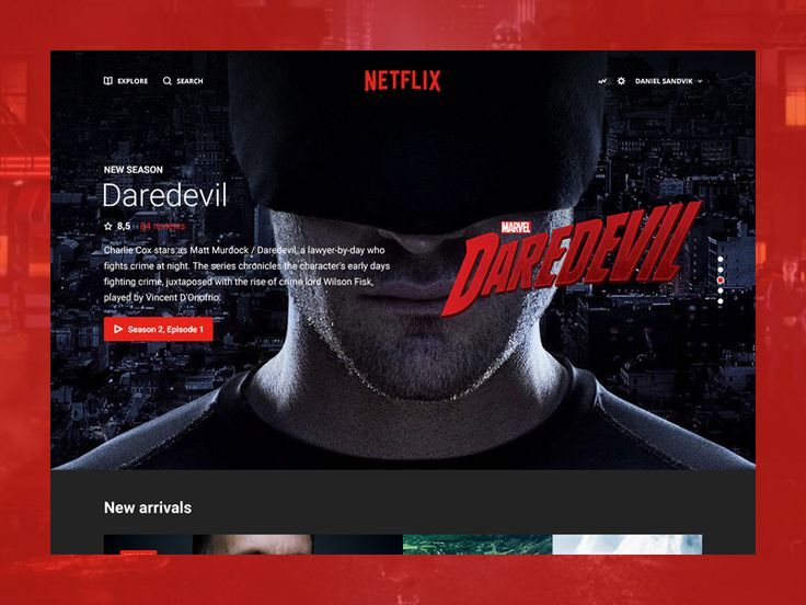 Netflix Redesign by Daniel Sandvik - Fullscreen background with large font text