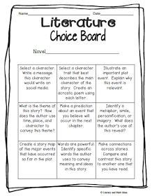 Literacy & Math Ideas: Free Literature Choice Board