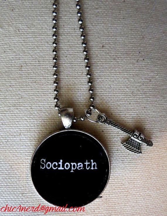 "Ciondolo collana Ciondolo ""Sociopatico"" - #sociopath #Hatchet #chic4nerd   cameo Cabochon"